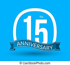 15 Anniversary numbers with ribbon. Flat origami style with long shadow. 15th anniversary Vector illustration
