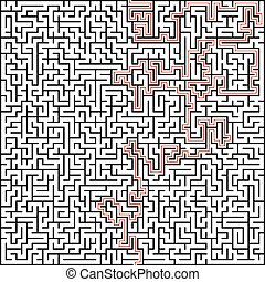Abstract vector maze of high complexity with solution