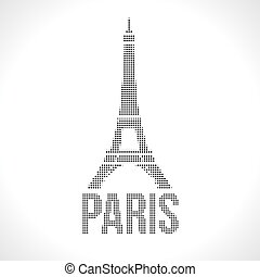 Eiffel Tower Dot silhuette. Halftone Dotwork Vector...