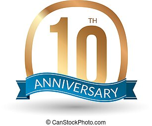 10 years anniversary experience gold label, vector illustration