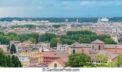 Panoramic view of historic center timelapse of Rome, Italy...