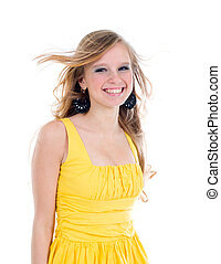 happy teenage girl isolated