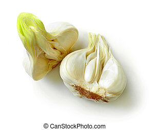 fresh raw garlic isolated on white background, top view