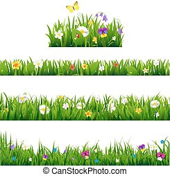 Big Set Flowers Borders With Gradient Mesh, Vector...