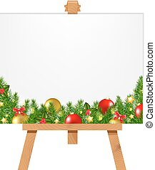 Banner With Christmas Border With Gradient Mesh, Vector...