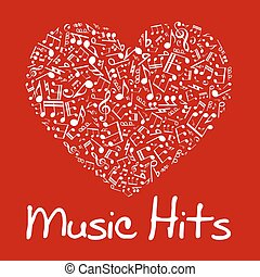 Music heart with notes and musical symbols - Love music...