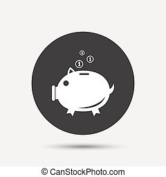 Piggy bank sign icon Moneybox symbol Gray circle button with...