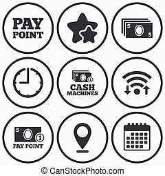 Cash and coin icons Money machines or ATM - Clock, wifi and...