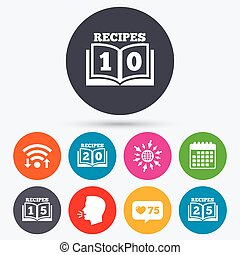 Cookbook icons Twenty five recipes book sign - Wifi, like...