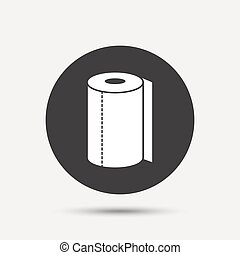 Paper towel sign icon Kitchen roll symbol Gray circle button...