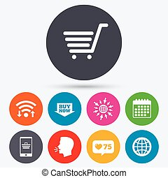 Online shopping icons Smartphone, cart, buy - Wifi, like...