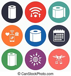 Toilet paper icons Kitchen roll towel symbols - Wifi, mobile...