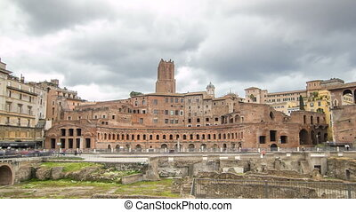 A panoramic view on Trajan's Market timelapse hyperlapse on...