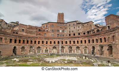 A panoramic view on Trajans Market timelapse hyperlapse on...