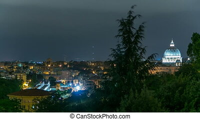 Panoramic view of historic center with Vatican night...