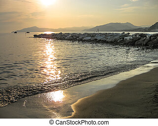 Sestri Levante sunset - Sunset over the sea in the famous...