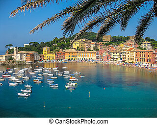 Sestri Levante Baia del Silenzio - Aerial view of the...