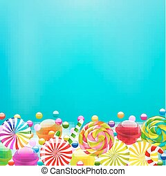 Color Lollypop Border With Gradient Mesh, Vector...