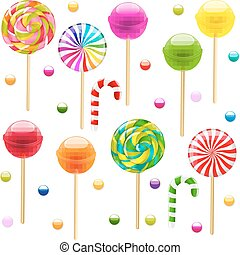 Lollypop Big Set With Gradient Mesh, Vector Illustration