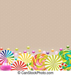 Sweet Shop Card With Color Lollypop Border With Gradient...