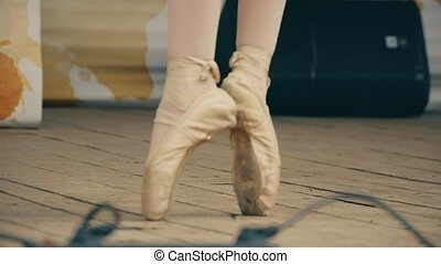 Girl jumping legs in pointes slow motion video - Girl...