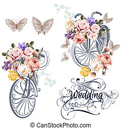 Cute vector set for invitation design with fake bicycle and...