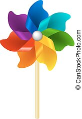 Color Pinwheel With Gradient Mesh, Vector Illustration