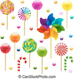 Lollypop Big Set With Pinwheel With Gradient Mesh, Vector...