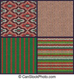 Seamless Knitted Pattern. Set of Christmas Samples. Collection