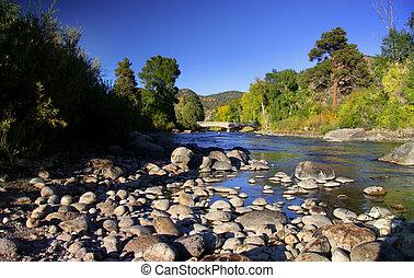 Scenic Arkansas river in Colorado rocky mountains