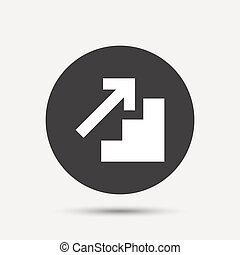 Upstairs icon. Up arrow sign. Gray circle button with icon....