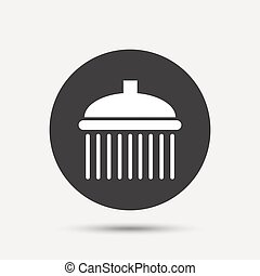Shower sign icon Douche with water drops symbol Gray circle...