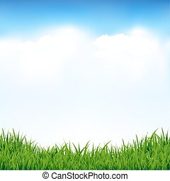 Blue Sky And Greeen Grass With Gradient Mesh, Vector...