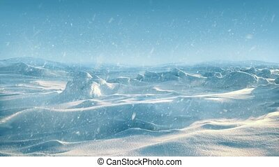 Arctic Landscape With Snow Falling - Snow covered terrain in...