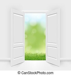 Opened Doors With Blue Sky And Greeen Grass With Gradient...