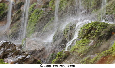Fresh water stream with waterfall in mountain forest, close...