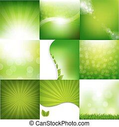 Eco Nature Set Banners With Gradient Mesh, Vector...