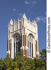 The bell tower of First United Methodist Church in Dallas -...