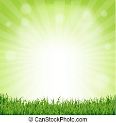 Grass And Bokeh Nature Poster With Gradient Mesh, Vector...