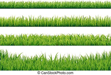 Green Grass Borders Set With Gradient Mesh, Vector...