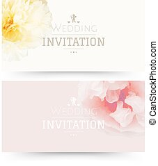 Wedding Invitation With Gradient Mesh, Vector Illustration