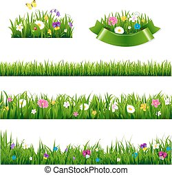 Flowers Borders Big Set With Gradient Mesh, Vector...