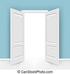 Open Doors With Gradient Mesh, Vector Illustration