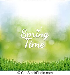 Spring Time Poster With Gradient Mesh, Vector Illustration