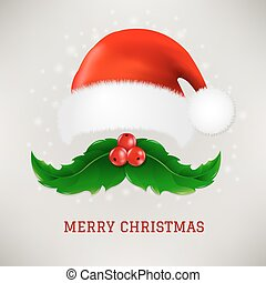 Christmas Card With Moustaches And Santa Claus Cap With...