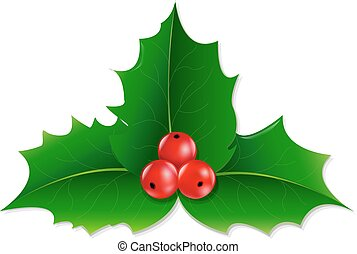Holly Berry With Gradient Mesh, Vector illustration