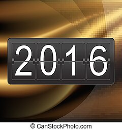 New Years Postcard With Counter With Gradient Mesh, Vector...