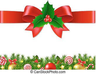 Xmas Bow With Gradient Mesh, Vector illustration
