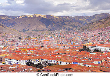 Cuzco city center - Aerial view of Cuzco city center Peru