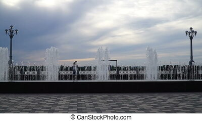 footage fountain in a seafront, on the square. HD video